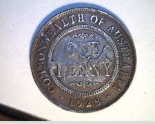 1928 Australia, Lg One Penny, Circulated High Grade Bronze Coin (Aust-97)
