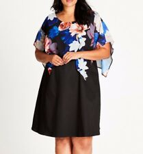 Plus Size Autograph Black Floral Overlay Knee Length Cotton Dress Sz 22 RRP $119