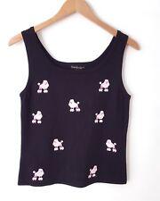 Erin Matthews Women's Knit Tank Top Black Pink Poodles Size M 50's Costume