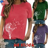 Women Casual Short Sleeve Blouse Dandelion Print T Shirt Summer Loose Tunic Tops