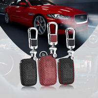 For Jaguar Series Car Leather Smart Key Remote Entry Fob Case Cover Chain