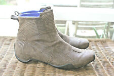 PUMA Brown Leather Side Zip Booties Neoprene Lining Square Toe Women's Size 9.5