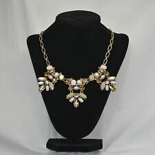 Crystal Flower Statement Necklace Crew Style Pearl Gold J Jewelry