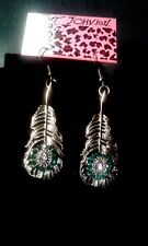 BETSEY JOHNSON  CRYSTAL FEATHER ANTIQUE GOLDEN  WIRE EAR RINGS-FREE GIFT BOX