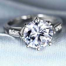 Handmade Natural 2.20ct White Topaz  Size US 7 14K White Gold Ring  Gkoy77wq