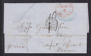 """US Stampless 1856 SFL, NY to France, per """"Asia"""""""