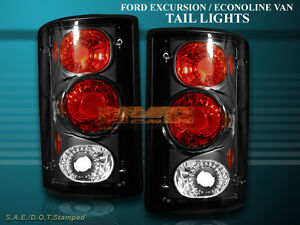 2000-2006 FORD EXCURSION 1995-2006 E SERIES ECONOLINE TAIL LIGHTS BLACK