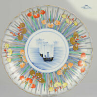 Meiji period Fukagawa Chuji Japanese Porcelain Plate Boats Flowers Mount Fuji