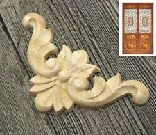 Retro Unpainted Wood Carved Corner Onlay Applique Frame Furniture Home Decor A