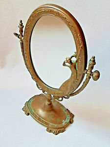 Art Nouveau style brass dressing table tilt oval mirror - made in Italy FAL