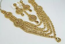 Indian Wedding Bollywood Fashion Jewelry Traditional Gold Necklace Set Earring
