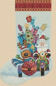 Cross stitch chart Stocking - Santas Christmas Delivery FlowerPower37-uk