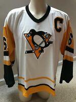 Vintage CCM Mario Lemieux 66 Pittsburgh Penguins Captain Hockey Jersey Mens