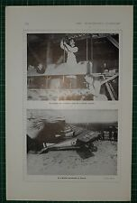 1916 WWI WW1 PRINT ~ ASSEMBLING PARTS OF BRITISH MACHINE ~ AERODROME IN FRANCE