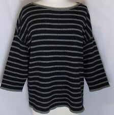 Eileen Fisher Yak Wool Blend Oversized Sweater Black Gray Stripes Size Large