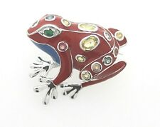 Amazing Frog from 925er Silver, Enamelled, Real Gems