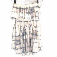 Blue Life Women's Off the Shoulder Ruffle Peplum White Tie Dye Top Size XS