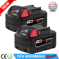 2 X For Milwaukee 18V 4.0AH M18 M18B4 48-11-1828 Red Lithium Ion XC 5.0 Battery