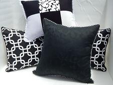 Black & White Floral Damask, 100% White Silk Designer Decor Throw Pillow COVER