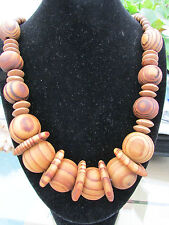 "A LARGE CHUNKY LIGHT WOODEN BEAD & DISC NECKLACE. 26"" + EARRINGS."
