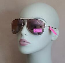 Betsey Johnson 100% UV Metallic Sparkle Accent Gold Aviator Sunglasses