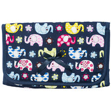 Lovely Cute Travel Cosmetic Makeup Toiletry Bag Case with Mirror Blue Elephants