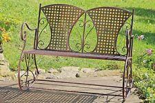 Schaukelbank Konya 106x74x87cm aus Eisen in Braun Stuhl Garten Neu