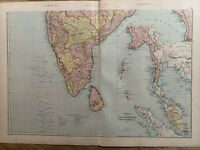 1891 SOUTH INDIA BURMA MALAYA SINGAPORE COLOUR MAP BY W.G. BLACKIE 129 YEARS OLD