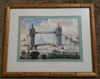 Roy Pettitt Tower Bridge, London Watercolor Painting Framed