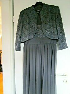 Abendkleid grau 2 teilig  Kleid lang + Bolero Gr 14( ca 38-42) neu !!