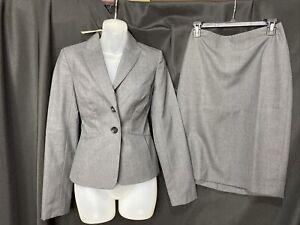 Ann Taylor Size 0 Jacket 2 Skirt Wool Blend Career Skirt Suit Set In Gray