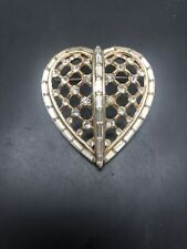 Vintage Trifari Captive Hearts Rhinestone Heart Pin Alfred Philippe Rare