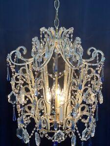 Vintage Italian Crystal Macaroni Beaded Chandelier Bird Cage Pagoda Blue Murano