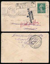 FRANCE 1911 to PORTUGAL + RETURNED MINIATURE ENVELOPE + MACHINE CANCEL CHRISTMAS