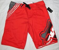 New Fox Racing Hashed Flame Red Boardshorts Swim Shorts Mens Size 34