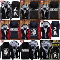 Anime ONE PIECE Fleece Jacket Men/Women Winter Thicken Warm Hoodie Zipper Coat