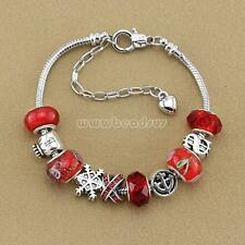 Women Jewelry European 925 SIlver Bangle Red Crystal Bead Charms Bracelet 28fas