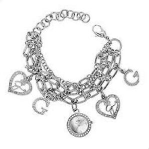 New Authentic Guess  W13529L1 Silver Tone Stainless Steel Charm Bracelet Watch