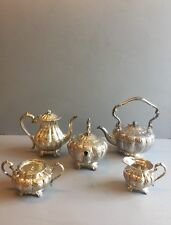 Hand Chased English  Silver Plated Embossed Floral& Pumpkin Pattern 5 Pices Tea