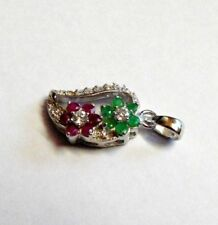 NATURAL RUBY, EMERALD, WHITE CZ, 925 SOLID STERLING SILVER FLOWER PENDANT
