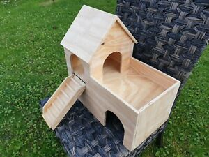 Guinea Pig House Castle Shelter two tiered Hideout Hideaway Hutch 18''x10''x17''