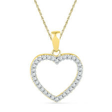 Ladies Diamond Heart Pendant Locket 10kt Yellow Gold 1/6 Cttw,  Valentine Gift