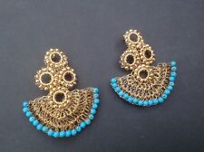 "GOLD WIRED PIERCED TURQUISE LONG FASHION EARRINGS   2 3/4"" long"