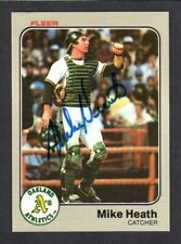 1983 FLEER #518  Mike Heath  OAKLAND ATHLETICS  A' s  SIGNED AUTOGRAPH AUTO COA