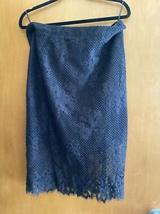 Witchery Black Lace Pencil Pin Up Midi Skirt Sz 14