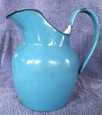 Vintage Blue Enamelware Enamel Graniteware Pitcher
