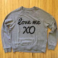"DEB Juniors ""LOVE ME XO"" Crewneck Pullover Sweatshirt. Sz Small $29.99 Gray"