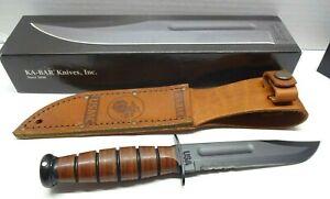 """Ka-Bar Kabar 1261 Short USA Serrated 5.25"""" Blade Knife USMC Brown Leather Sheath"""