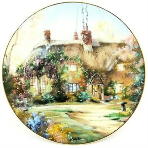 Marty Bell Collector Plate Larkspur Cottage 1991 Hamilton Collection