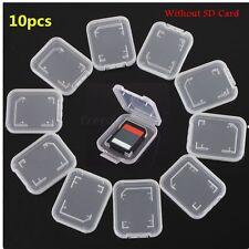 10Pcs Transparent SD Compact Flash Memory Card Holder Box Storage Plastic Case